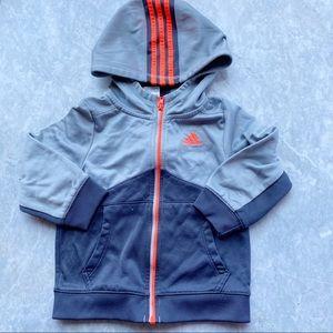 Adidas Gray Zip Up & Hoodie 24 Month